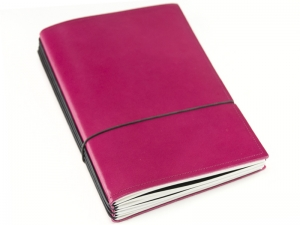 A5 3er Notizbuch Leder glatt magenta, Notizenmix