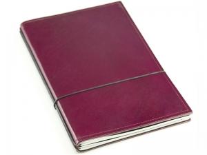 A5 2er Notizbuch Leder glatt violett, Notizenmix