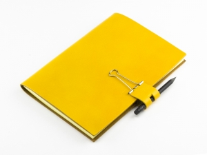 A5 Mind-Papers Leder Glatt, gelb