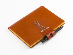 A6 Mind-Papers Leder glatt, orange