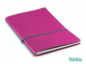 """A5 1er Notizbuch Leder glatt """"Pink-Edition"""" mit farbigen ElastiXs nach Wahl"""