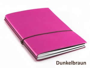 """A5 2er Notizbuch Leder glatt """"Pink-Edition"""" mit farbigen ElastiXs nach Wahl"""