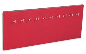 X17 Schlüsselbrett 10er Leder Natur rot mit Ziernaht