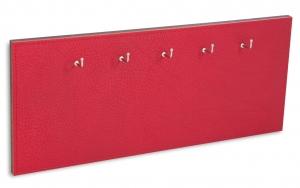 X17 Schlüsselbrett 5er Leder Natur rot mit Ziernaht