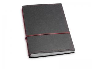 A5 3er Notizbuch Texon schwarz / rot, Notizenmix