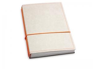 A5 4er Notizbuch Texon stone / orange, Notizenmix