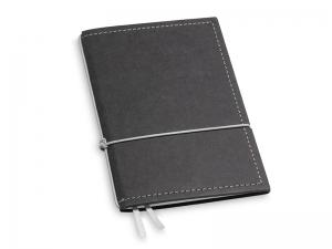 A6 1er Notizbuch Texon schwarz / grau mit Notizenmix