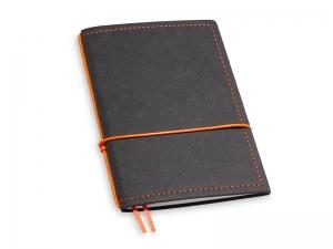 A6 1er Notizbuch Texon schwarz / orange mit Notizenmix