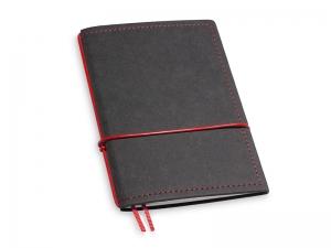 A6 1er Notizbuch Texon schwarz / rot mit Notizenmix
