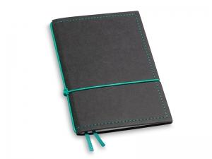 A6 1er Notizbuch Texon schwarz / türkisgrün mit Notizenmix