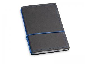 A6 2er Notizbuch Texon schwarz / blau mit Notizenmix und Doppeltasche