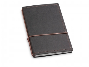 A6 2er Notizbuch Texon schwarz / braun mit Notizenmix und Doppeltasche