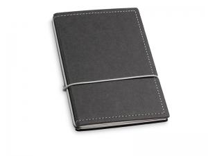 A6 2er Notizbuch Texon schwarz / grau mit Notizenmix und Doppeltasche