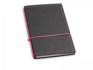 A6 2er Notizbuch Texon schwarz / magenta mit Notizenmix und Doppeltasche