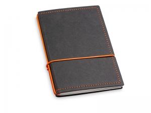 A6 2er Notizbuch Texon schwarz / orange mit Notizenmix und Doppeltasche