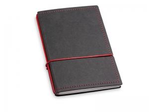 A6 2er Notizbuch Texon schwarz / rot mit Notizenmix und Doppeltasche