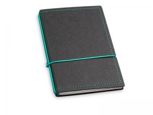 A6 2er Notizbuch Texon schwarz / türkisgrün mit Notizenmix und Doppeltasche