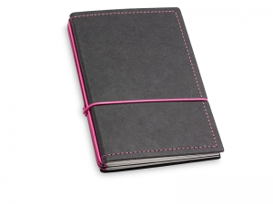 A6 3er Notizbuch Texon schwarz / magenta mit Notizenmix