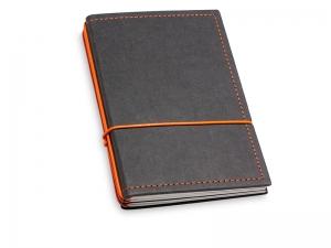A6 3er Notizbuch Texon schwarz / orange mit Notizenmix