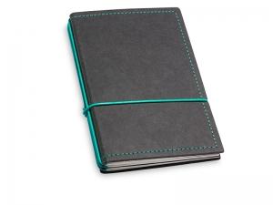 A6 3er Notizbuch Texon schwarz / türkisgrün mit Notizenmix