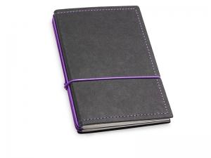A6 3er Notizbuch Texon schwarz / lila mit Notizenmix