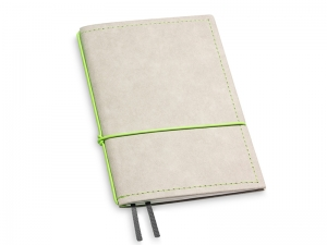 A6 1er Notizbuch Texon stone / grün mit Notizenmix