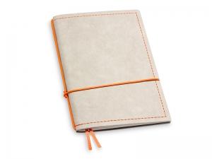 A6 1er Notizbuch Texon stone / orange mit Notizenmix