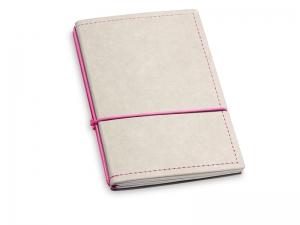A6 2er Notizbuch Texon stone / magenta mit Notizenmix und Doppeltasche