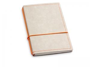 A6 2er Notizbuch Texon stone / orange mit Notizenmix und Doppeltasche