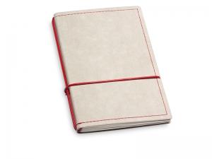 A6 2er Notizbuch Texon stone / rot mit Notizenmix und Doppeltasche