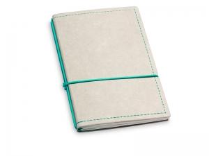 A6 2er Notizbuch Texon stone / türkisgrün mit Notizenmix und Doppeltasche