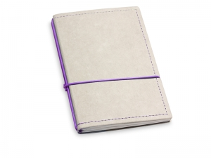 A6 2er Notizbuch Texon stone / lila mit Notizenmix und Doppeltasche