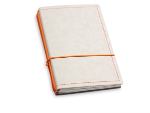 A6 3er Notizbuch Texon stone / orange mit Notizenmix