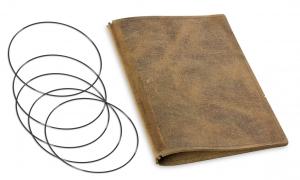 A5 Leder genarbt für vier Einlagen, khaki (X5-4-5)