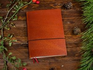 A5 1er Notizbuch Leder natur brandy, Notizenmix
