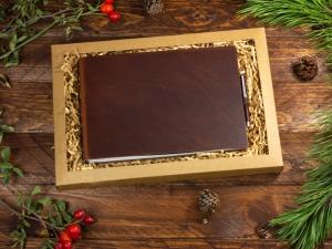 A5+ Quer 2er Notizbuch Leder natur marone in der BOX
