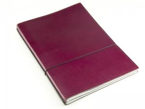 A4+ 2er Leder glatt violett mit 2 x Notizen und Doppeltasche