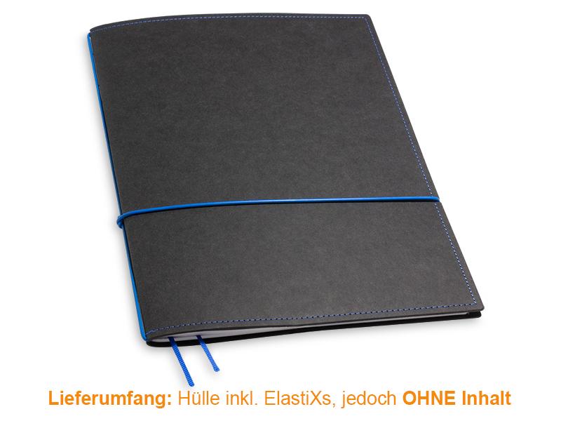 A4+ Hülle 1er Texon schwarz/blau inkl. ElastiXs