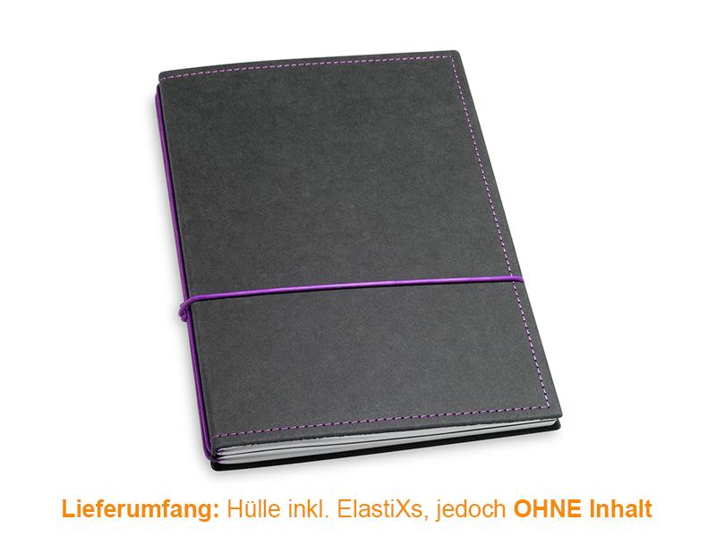 A5 Hülle 2er Texon schwarz/lila inkl. ElastiXs