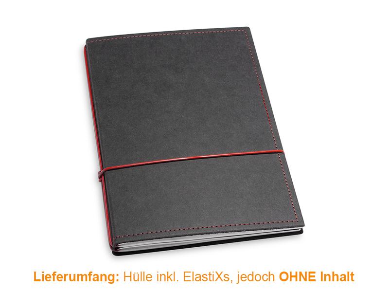 A5 Hülle 2er Texon schwarz/rot inkl. ElastiXs
