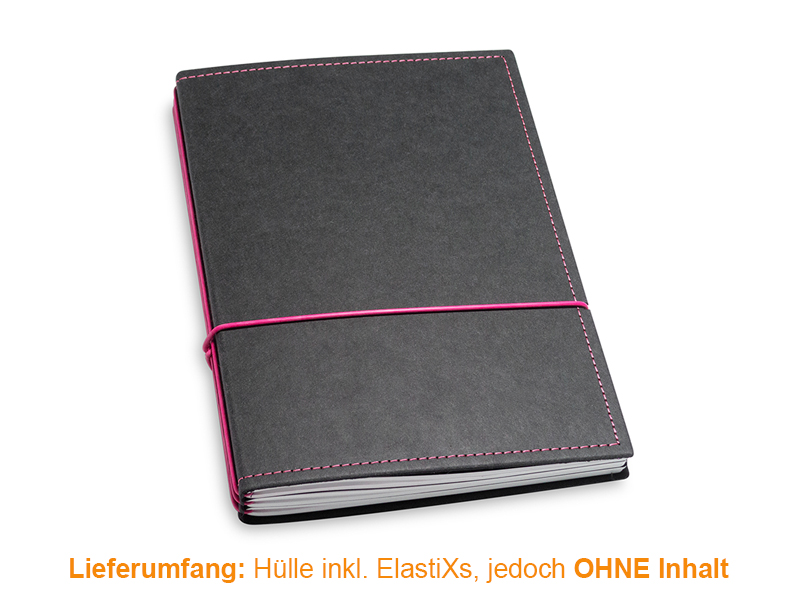 A5 Hülle 3er Texon schwarz/magenta inkl. ElastiXs