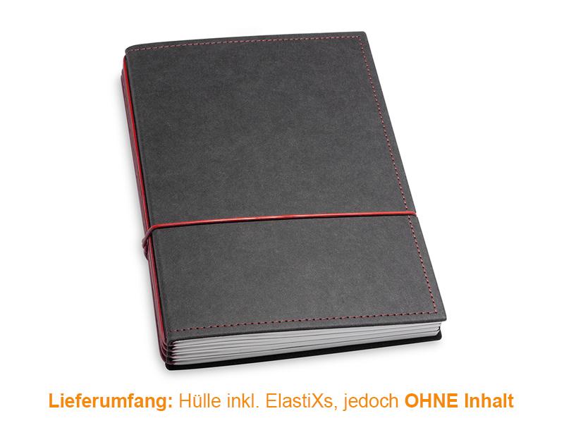 A5 Hülle 4er Texon schwarz/rot inkl. ElastiXs
