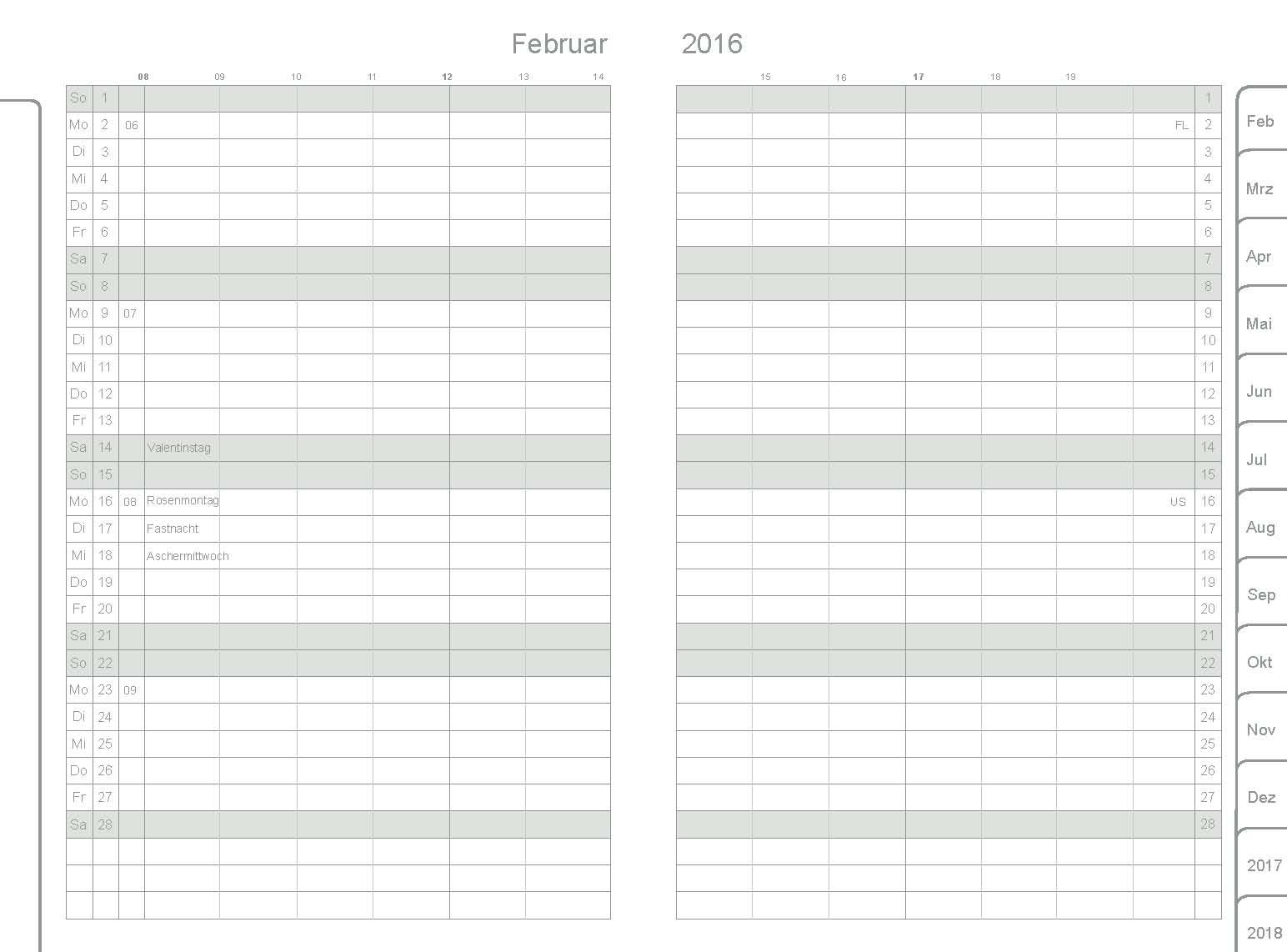 ... und Zubehör A7 Hochkant A7 Kalendarien A7 Monatskalender 2016-2018