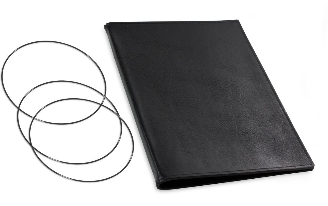 A4+ Lederhülle  für 2 Einlagen, schwarz glänzend (X4-2-2)