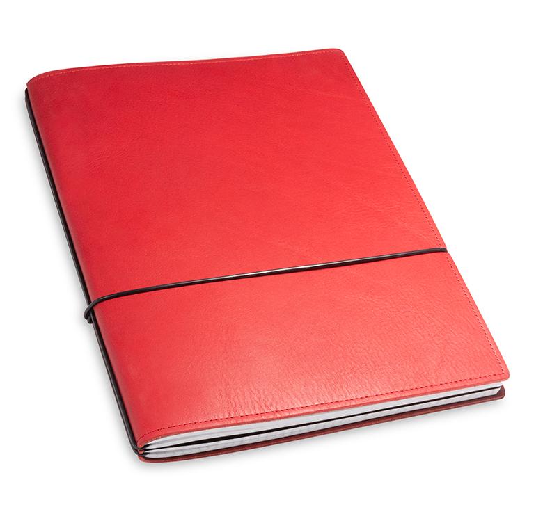A4+ 2er Leder natur rot mit 2 x Notizen und Doppeltasche
