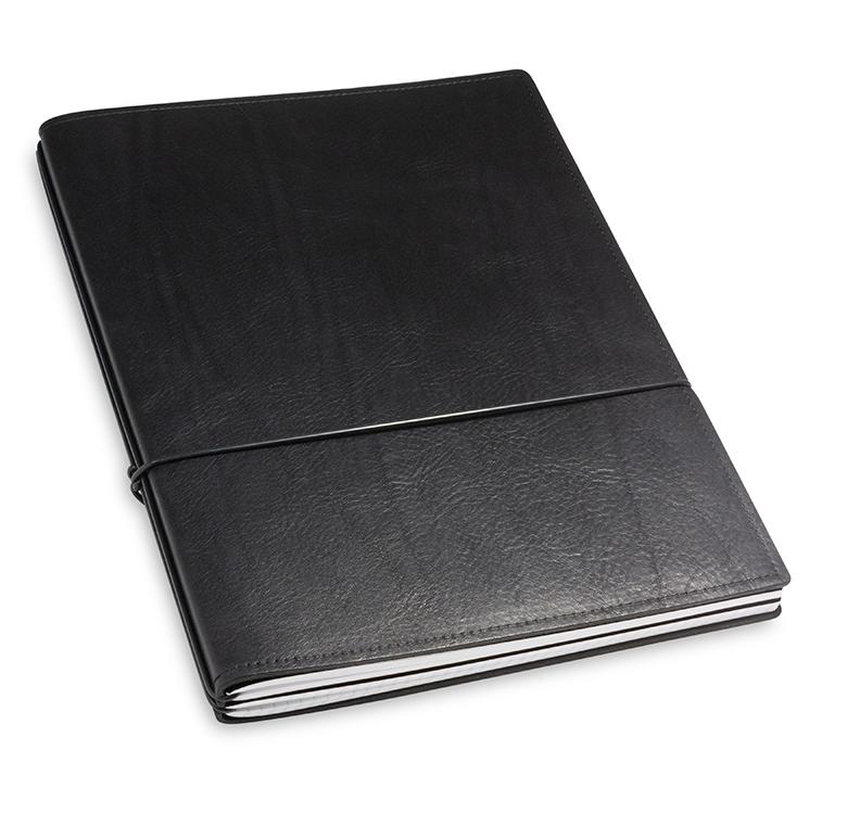 A4+ 2er Leder natur schwarz mit 2 x Notizen und Doppeltasche