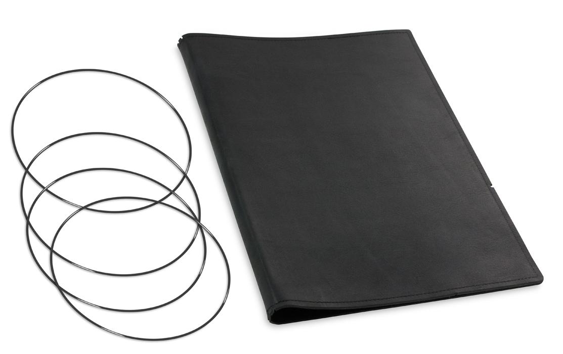 A4+ Hülle 3er Leder natur schwarz inkl. ElastiXs