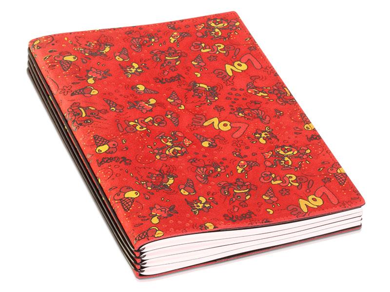 A5 4er Notizbuch Veloursleder rot mit Aufdruck