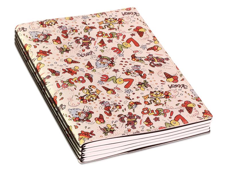 A5 4er Notizbuch Veloursleder weiß mit Aufdruck