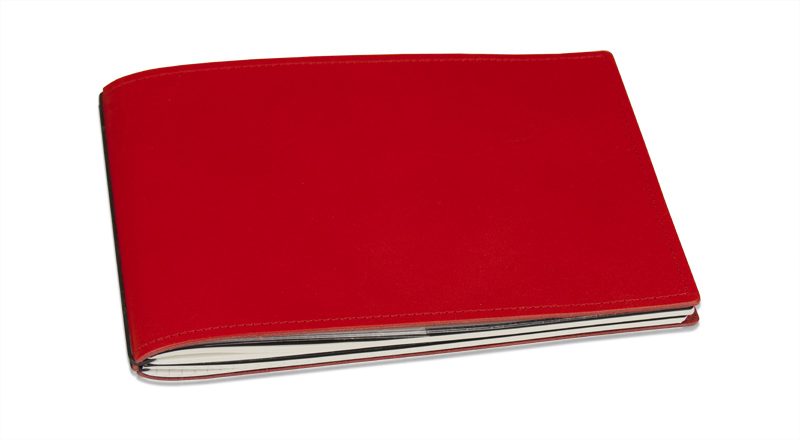 A5+ Quer 3er Leder glatt rot mit Kalender 2019